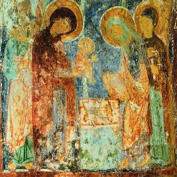Фреска, роспись восточного рукава кельи Спасо-Преображенской церкви Евфросиньева монастыря, XII век.
