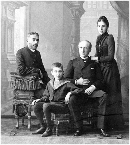 Prince Georgii D. Shervashidze with his family, his wife Maria Alexandrovna, their son Dmitrii and her father Baron Alexander Nicolai