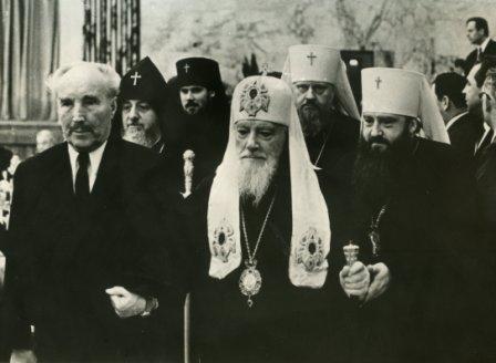23 марта 1965 г. Патриарх Алексий, Митрополит Пимен, Митрополит Ннкодим, Архиепископ Алексий и Д.А. Остапов в Кремле на приеме в честь космонавтов