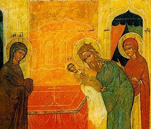 Сретение. Икона. 16 в., Новгород. Музей икон в Амстердаме.