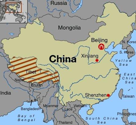 физических тибет где находится какая страна карта болит левый бок